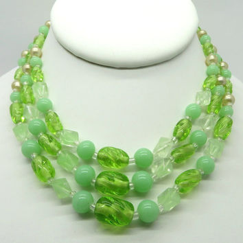 Vintage Japan Bead Necklace, Three Strand Green Frosted, Opaque, Clear Glass Necklace