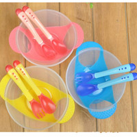 3pcs lot toddler Kid Bowl Feeding Lid Training dishes with spoon fork Children Plates Baby Feeding Bowl