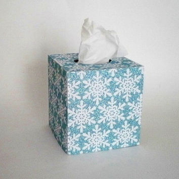 BLUE GLITTER & SNOWFLAKE Tissue Box Cover - Sparkling Light Blue/TealDecorative Square Cover,Christmas Tissue Box Cover, Holiday Decor