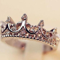 Fashion Crown Women's Transparent Rhinestone Statement Rings