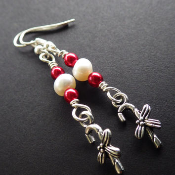 Christmas Candy Canes- Red and White- Pearls- Holiday Jewelry- Silver- Dangle Earrings- Stocking Stuffer- Gift for Her- Woman- Teen Girls