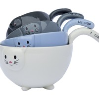 Cute Little Kittens Ceramic Measuring Bowls Set by Comfify - Charming Kitten Measuring Cups in ¼ Cup, 1/3 Cup, ½ Cup and 1 Cup Sizes, 4 Cute Colors - Ceramic Baking Bowls Nest