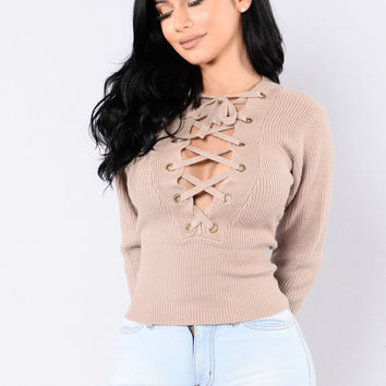 Make Some Trouble Sweater - Taupe