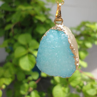 Aqua Agate Druzy Gold Pendant  Necklace