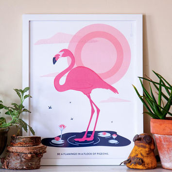 Printable Flamingo Wall Art, Flamingo Print, Flamingo Gifts, Flamingo Quote, Flamingo Decor, Wall Decor, Home Decor, Blue Pink, 12x16