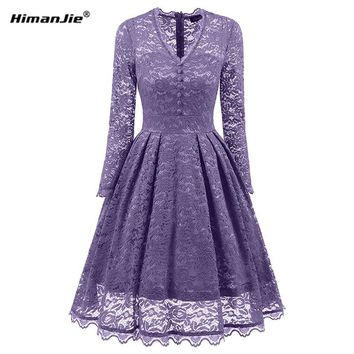 Himanjie 2018 Autumn Women V Neck Lace Dress Elegant Sequin Bodycon swing Dress Lady hollow out vintage patchwork dresses
