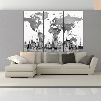 Push pin world map canvas print wall art for living room, extra large wall art travel map with country name  9s42
