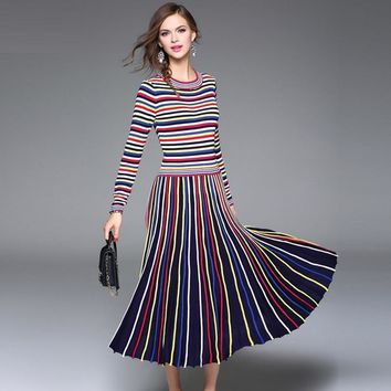 fashion rainbow striped women fit and flare dress casual cotton knitting empire mid calf elasticity women dress