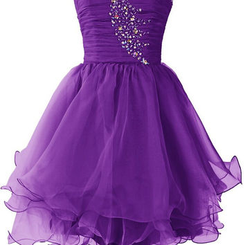 Homecoming Dress,Purple Crystals Strapless Chiffon Short Prom Dress