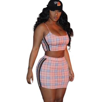 Burberry Summer New Fashion Plaid Leisure Straps Top And Skirt Women Two Piece Suit Pink