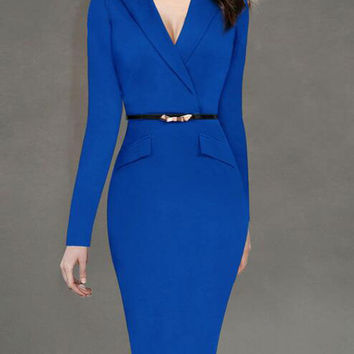 Fashion Suit Collar Long Sleeve Back Slit Plus Size Midi Pencil Professional Work Dress with Belt