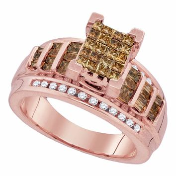 10kt Rose Gold Womens Princess Cognac-brown Color Enhanced Diamond Cluster Bridal Wedding Engagement Ring 1.00 Cttw