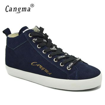 CANGMA Original Lace Up Genuine Leather Shoes Platform Sneakers Women's Navy Blue Casual Shoes Mid Cow Suede Footwear Female