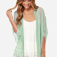 Rambling Rose Mint Green Lace Kimono Top