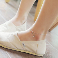 Silver trendy star and moon anklets simple style