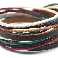 Adjustable Bracelet Cuff made of Brown Leather Multicolour Ropes and metal Woven Snapper  582S