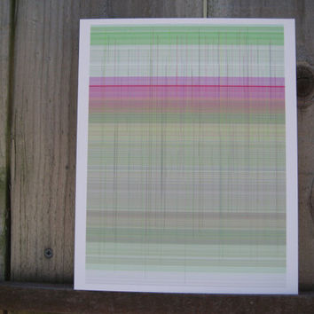 Abstract Art. Geometry. Inspired by Paul Klee. Pink and Green Abstract generative art  Lines 09,  on 8 x 10 cotton rag paper Limited Edition