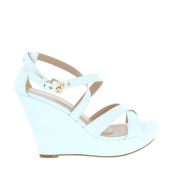 Buckled Cross Strap Wedge