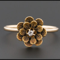 14k Gold Diamond Flower Ring, Conversion Ring