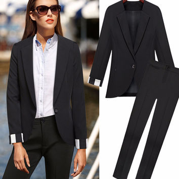 Black Striped Cuff Long Sleeve Suit