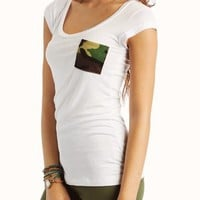camouflage-pocket-tee BLACK WHITE - GoJane.com