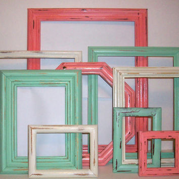9 Shabby Chic Beach Themed Distressed Picture Frames Sea Foam Green, Vintage White & Coral