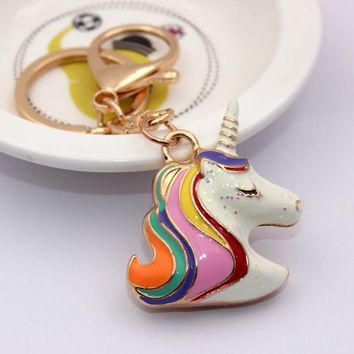Original Charm 3D Unicorn Keychain Rainbow Color Animal Cute Horse Key Chain Holder Women Bag Hang Car Pendant Keyring trinket
