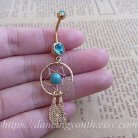 Dream Catcher Belly Button Ring, Crystal Belly Ring, belly button jewelry