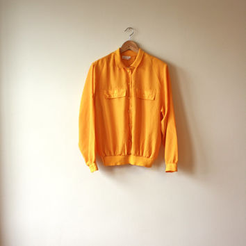 80s Yellow Orange Silky Collared Blouse Womens Large