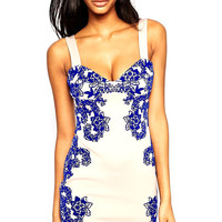 Royal Blue Floral Print Mini Dress with Strap