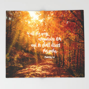 He Will Direct Your Path Bible Verse Throw Blanket by Quote Life Shop