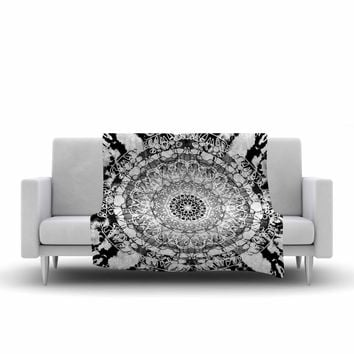 "Nina May ""Tie-Dye Mandala Jain"" Black White Illustration Fleece Throw Blanket"