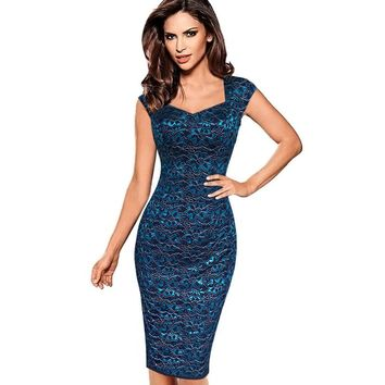 Womens Dress Sexy Elegant Summer Floral Flower Lace Cap Sleeve Vestidos Casual Party Fitted Sheath Bodycon Dress 404