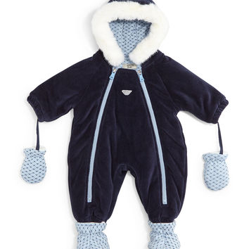 Hooded Velour Snowsuit, Indigo, Size 6-12 Months,