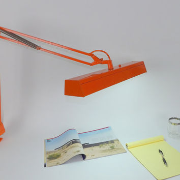 Desk Lamp Light Gooseneck Tanker Desk Articulating Mid Century Modern Orange Architect LTS Dazor Style Table Adjustable Office Lighting