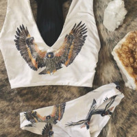 Eagle printed bikini zipper swimsuit woman