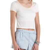 High-Low Cropped Ringer Tee by Charlotte Russe
