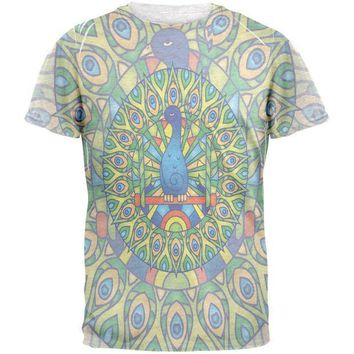 CREYCY8 Mandala Trippy Stained Glass Peacock Mens T Shirt
