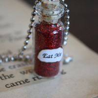 Alice in Wonderland Eat Me Vial Necklace