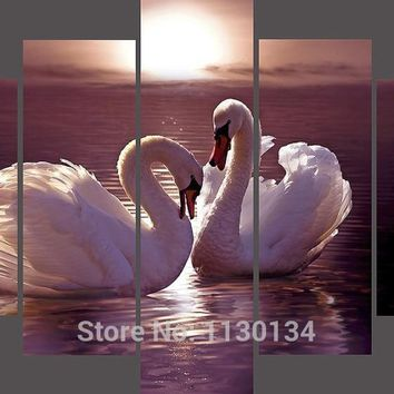 5D Diamond Painting Two Swans 5 Panel Kit