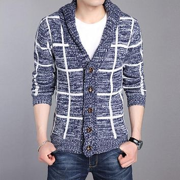WIIVIP Autumn Winter Cardigan Men V Neck Sweatercoat Men Cardigans Slim Cashmere Striped Knitted Mens Sweaters mz335