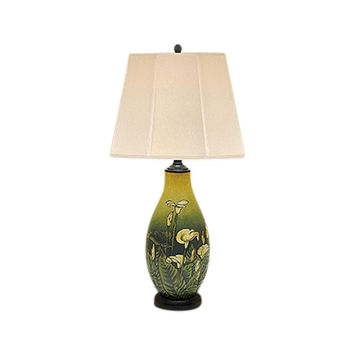 """Beautiful Porcelain Lily Floral Table Lamp 28"""" with Shade"""