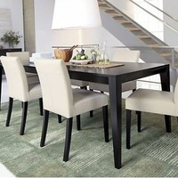 Crate and Barrel extendable black dining table