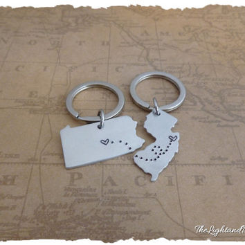 State Key Chains - USA - State - Place to Place - Long Distance Love or Friendship