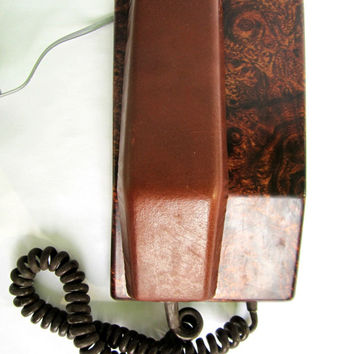 American Club Ltd Push Button Phone Vintage Telephone Brown and Faux Leather Home Office Desk Wall