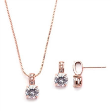 A Rose Gold 3CT Round Cut Solitaire Russian Lab Diamond Necklace and Earring Set