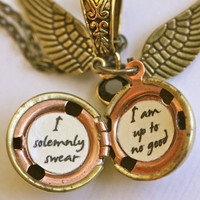 Harry Potter Golden Snitch Solemnly Swear Necklace