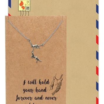Estella Man Holds a Woman Pendant Necklace, Gifts Jewelry with Greeting Card
