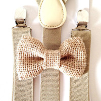 Tan khaki suspenders + Burlap Bow Tie Kids Children Toddler Baby Boys Boy Fits Ages 6months- 13 years old