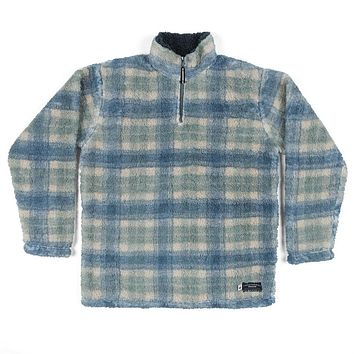 Andover Plaid Sherpa Pullover in Tan & Slate by Southern Marsh